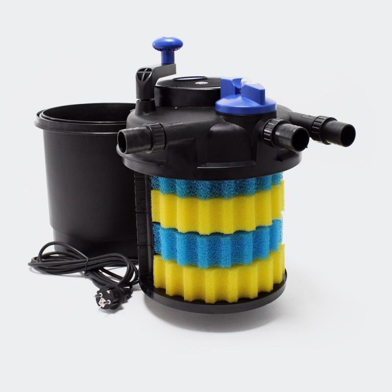 Filtre bassins de jardin sous pression uv 11w jusqu 39 8000 for Bassin a poisson sans filtre