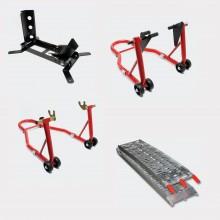 Pack lot béquilles d'atelier et bloque roue, rampe pliable piste moto