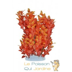 Plante plastique orange pour aquarium : 20cm
