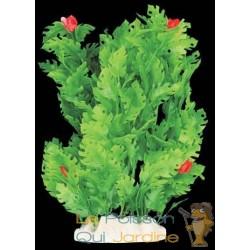 Plante plastique verte avec fleurs rouges pour aquarium : 20cm