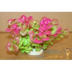 Plante plastique rose et verte pétales pour aquarium : 10cm