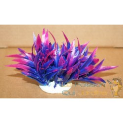 Plante plastique mauve et rose pour aquarium : 10cm