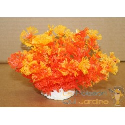 Plante plastique orange pour aquarium : 10cm