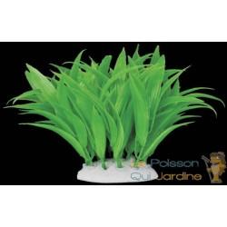 Plante plastique verte longues feuilles pour aquarium : 10cm